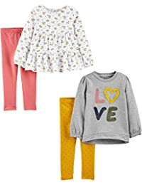 Girls' Toddler 4-Piece Long-Sleeve Shirts and Pants Playwear Set, Floral/Love, 3T