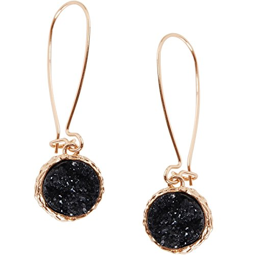 Humble Chic Simulated Druzy Threaders - Upside-Down Long Hoop Dangle Drop Earrings, Black, Simulated Onyx, (Black Stone Drop Earrings)