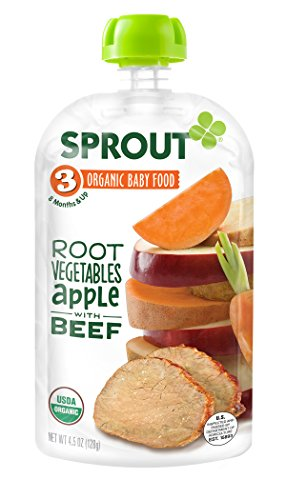 Sprout Organic Baby Food Pouches, Stage 3 Sprout Baby Food, Root Vegetables Apple with Beef, 4 Ounce, 6 Count