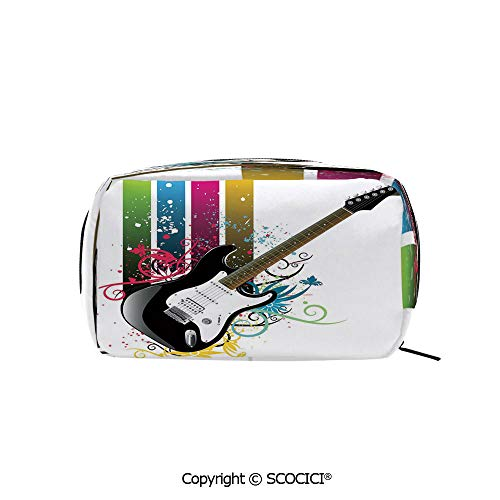 Rectangle Beauty Girl And Women Cosmetic Bags Bass Guitar on Colorful Vertical Stripes with Floral Natural Artistic Ornaments Decorative Printed Storage Bags for Girls Travel