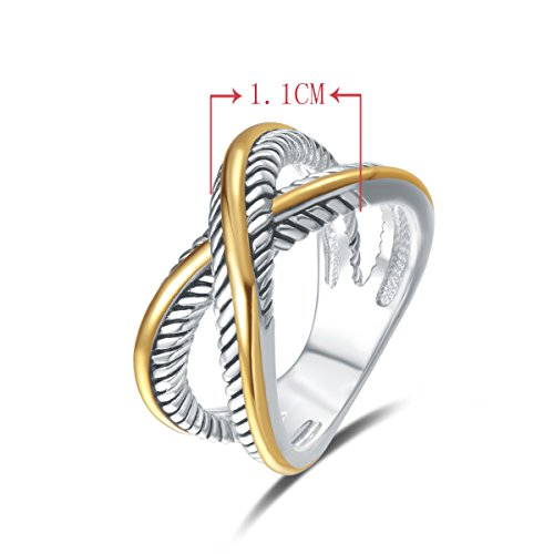5bff0e35a UNY Ring Vintage Designer Fashion Brand women Valentine Gift Two Tone  plating Twisted Cable Wire Rings