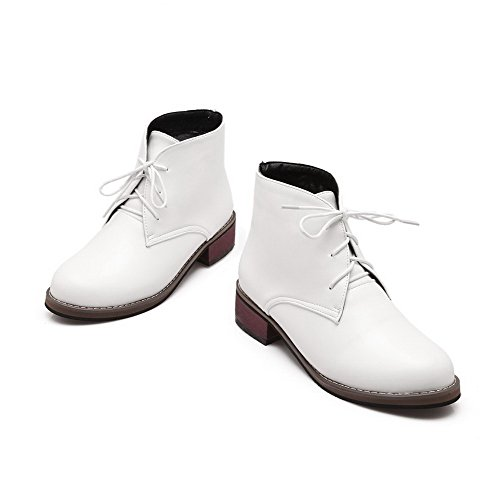 Women's White Closed Solid Toe Lace Boots Low Round Pu Heels Allhqfashion up HACdPqqwn