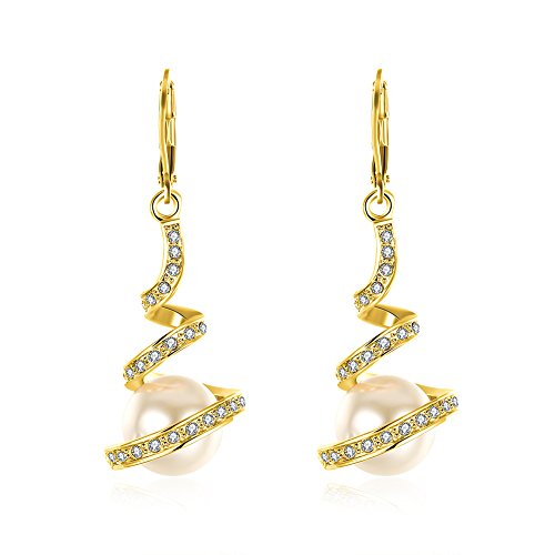 Swirl Earrings Pearl (Cinlan Women's Swirl Imitation Pearl Drop Dangle Earrings (Gold))