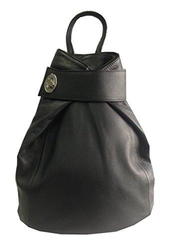Kimandjo - Bolso mochila de Piel para mujer Negro negro