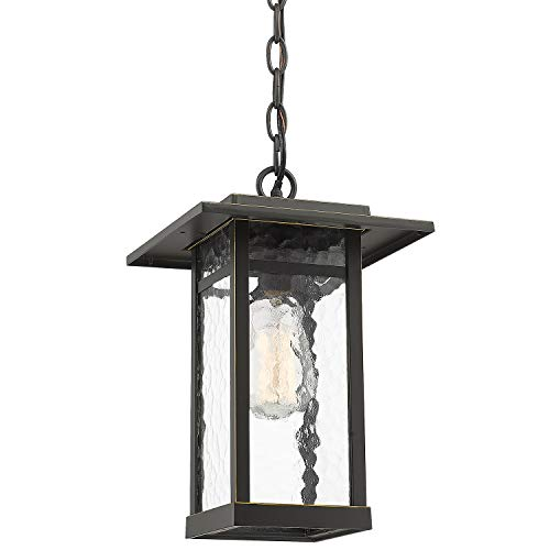 Outdoor Pendant Light for Porch, Beionxii 1-Light Exterior Hanging Lantern Light Fixtures Oil Rubbed Bronze Finish with Water Ripple Glass, Ceiling Height Adjustable - A268 Series (Hanging Porch Lanterns)
