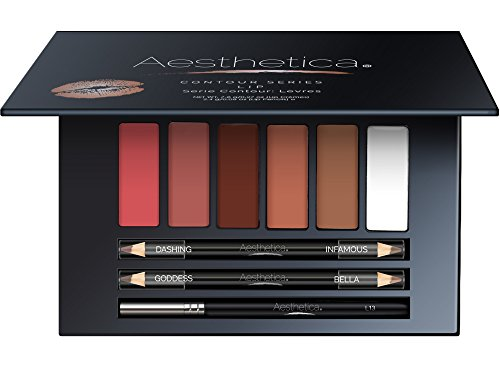 Aesthetica Nude Lip Contour Kit - Contouring and Highlighting Matte Lipstick Palette Set - Includes Six Lip Crèmes, Four Lip Liners, Lip Brush and Step-by-Step Instructions - Vegan & Cruelty Free (Lip Lipstick Palette)