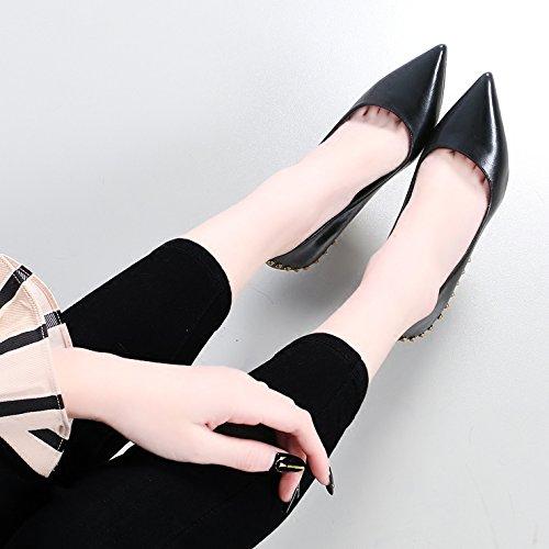 KHSKX-Sexy Tacones Altos Zapatos De Moda Primavera Nueva Multa De 10Cm Tacones Sharp Sharp Remache Zapatos De Mujer Sola black