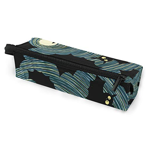 Halloween Card with Flying Bats Moonlight Pencil Case Large Capacity Sunglasses Pen Bag Makeup with Compartments]()