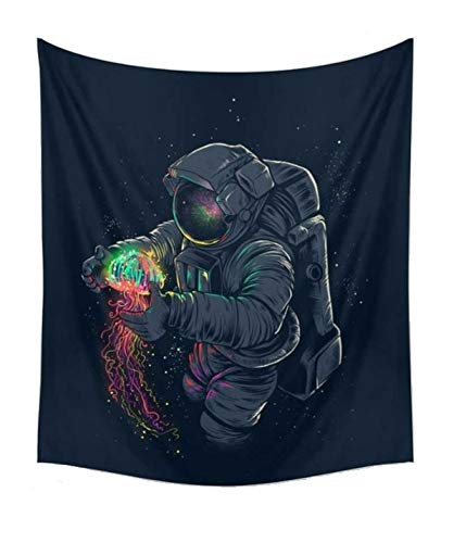 "CAMMITEVER Astronaut Wall Hanging Tapestry Outer Space Wall Art Home Decorations for Living Room Bedroom Dorm Decor in 51x60 Inches (51 W by 60"" L)"