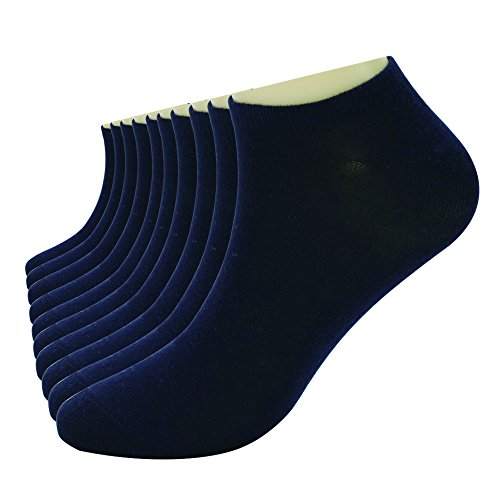 Enerwear 10p Pack Womens Moisture Wicking No Show Socks(9-11, Navy Blue)