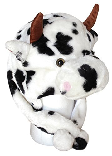 Joyhy Unisex Winter Plush Ear Flap Animal Hats White Cow