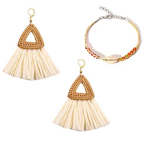 Rattan Tassel Earrings Woven Lafite Bohemian Earrings Handmade Lightweight Wicker Straw Stud Earrings Weaving Braid Drop Dangle Earring (01)