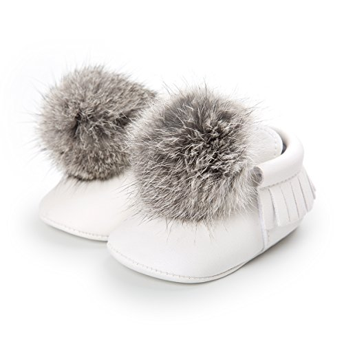 Loafer Soft Soled Leather Shoes (Sabe First Walkers - Unisex Baby Boys Girls Moccasins Soft Sole Tassels Prewalker Anti-Slip Loafer Shoes (12-18 Months, B-White))