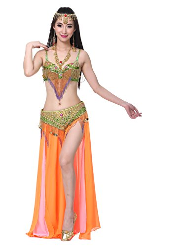 Dance Fairy Tribal Belly Dance Costume Set( Sexy Bra+Belt+Long Elastic High Slit (Sexy Belly Dance Costumes)
