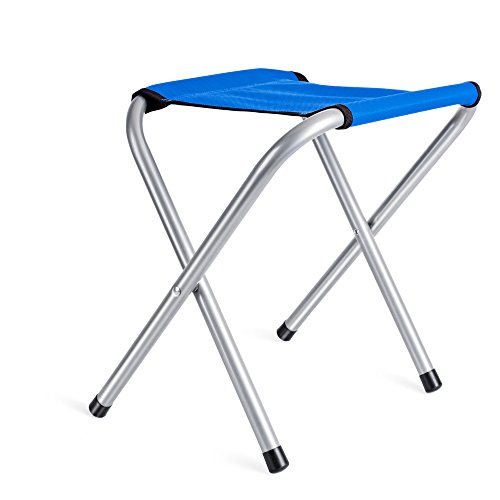 Acko Blue Folding Camp Stool Holds up to 250 LBS, Light and portable Rambler Stool Perfect Companion to Hiking Alone or with Friends 10x11x16 inches (Blue)