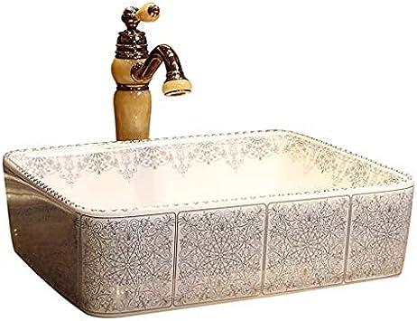 QTWW Baño Arte rococó Lavabo sobre encimera Rectangular Lavabo Europeo de cerámica Baño Lavabo Americano Lavabos de baño