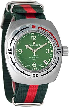 Vostok Amphibian Automatic Mens Wristwatch Self-Winding Military Diver Amphibia Case Wrist Watch 090348