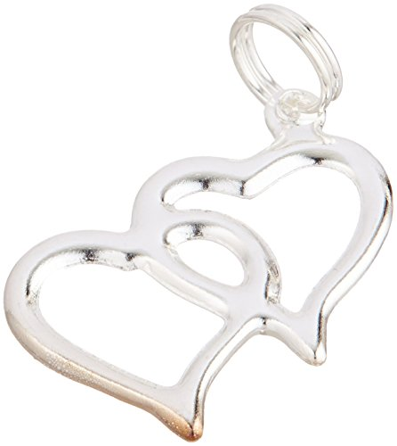 Double Heart Silver Charms 20pc