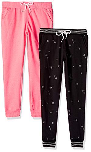 Freestyle Revolution Girls' Little Sport Heathered Fleece Jogger Pants (2 Pack), neon Pink/Caviar 6