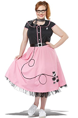 California Costumes Women's Size Pink 50'S Sweetheart Adult Woman Plus Costume, Black, 2X Large
