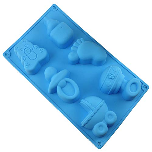 (Baby Shower Party Pan Bear Carriages Bottle Feet Bear Silicone Cake Decoration Soap Candy Making Mold chocolate mold Cupcake Topper)