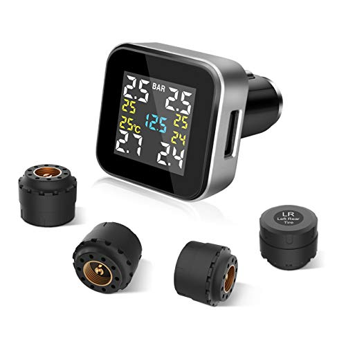 Tymate TPMS Wireless Tire Pressure Monitoring System with 4pcs External Sensors (0-6.0 BAR/0-87 PSI) and 2.1A USB Charging Port, Real-time Displays 4 Tires' Pressure, Temperature and Alarm Function (Best Tire Pressure Monitoring System)