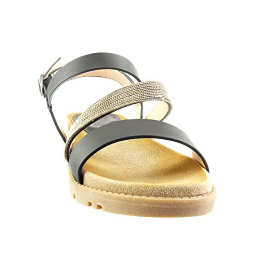 Muli Multi 4 Women's Fashion Nero Cm Gioielli Straps Sandali Angkorly Shoes Wedge Perizoma IHOxZIa