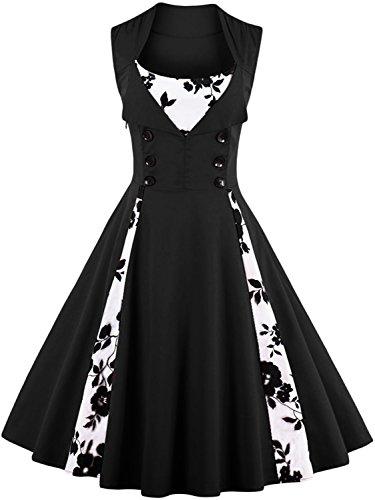 Vintage 1950s Cocktail Dress Retro Style Tea Length Gown,Black,3XL