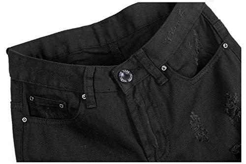Las De Mezclilla Stretch Mujeres Agujeros Casual Modernas Elástico Cintura Alta Pantalones Pantalón Denim Normal Schwarz Jane Vaqueros pAqSq5wx