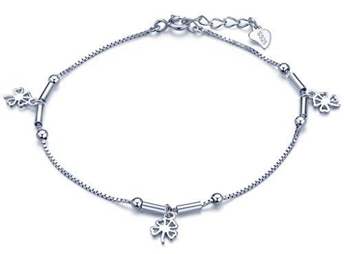 Infinite U Bracelet de trèfle à quatre feuilles en argent 925 pur trois trèfles aimable bijou élégant(la chainr est réglable)