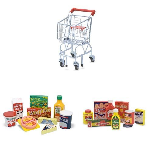 Shopping Cart Bundle with Fridge and Pantry Food (18 items)