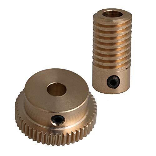 CNBTR Yellow 0.5 Modulus 50T Brass Worm Gear Wheel + 5mm Hole Dia Brass Gear Shaft 1:50 Reduction Ratio by CNBTR