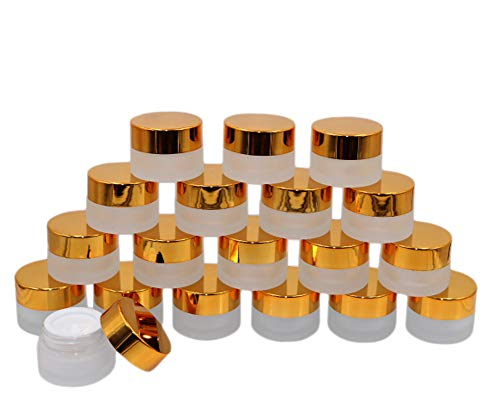 19 Packs 5 Grams Frosted Glass Jar Comsetic Sample Containers Makeup Lotion Storage Pot Eyeshadow Cream Jars Bottles With Gold Lids