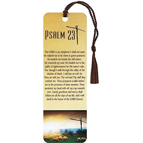 Psalm 23 Cross Sheep Golden Pasture Cardstock Tassel Bookmarks, Pack of 12
