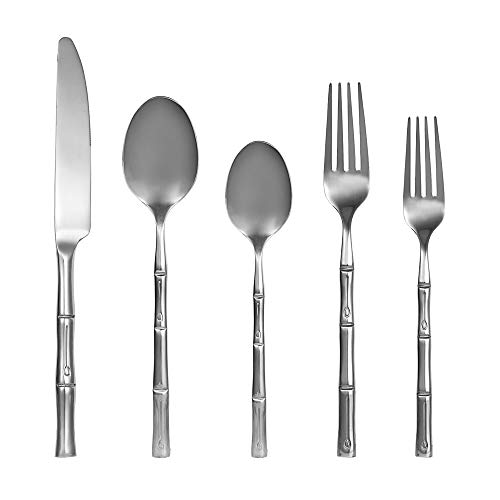 ZCF Silver Forge Bamboo Mirror 20-Piece Flatware Set,Stainless Steel Cutlery Dinnerware,Service for 4 (Bamboo)