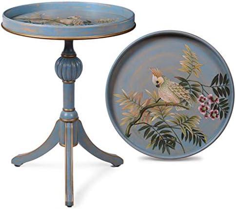 Koop De Nieuwste Mode GWFVA geschilderd kleine bijzettafel, vintage ronde tafel, handbeschilderde houten tafel, opbergvak, geschikt voor balkon, sofazijde, bibliotheek  6AvJo3M