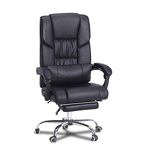 Ohana Executive Office Chair with Ergonomic High Back, Hight Adjustable Swivel Chair, Black Leather Computer Desk Chair-Lumbar Support, -