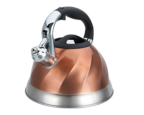 Home N Kitchenware Collection 3 Liter Stainless Steel Whistling TeaKettle Teapot, Bakelite handle, Capsule Base 18/10 Stainless Steel Whistling Tea Kettle Pot, Copper Color