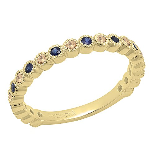 Dazzlingrock Collection 14K Round Champagne Diamond & Blue Sapphire Eternity Stackable Wedding Band, Yellow Gold, Size 9.5 (Sapphire And Diamond Eternity Band Yellow Gold)