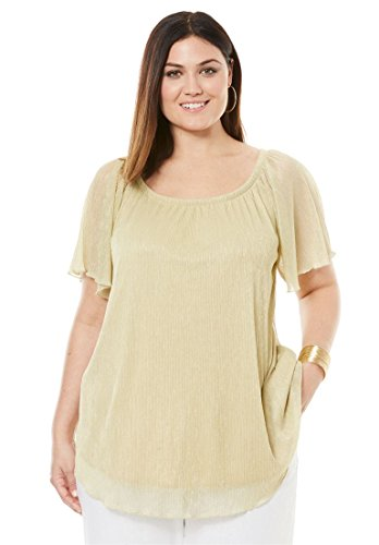 Jessica London Women's Plus Size Metallic Crinkle Top Gold,22/24 by Jessica London