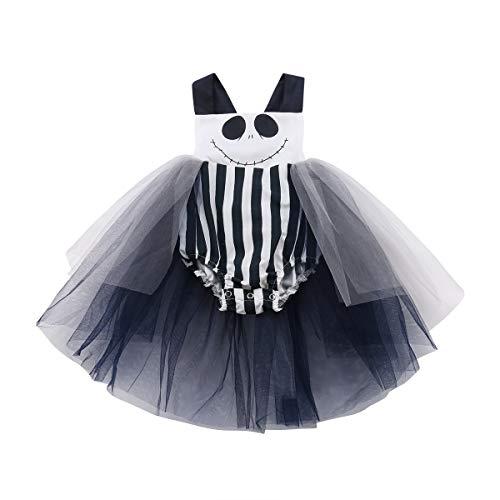 Lamuusaa Newborn Infant Toddler Baby Girl Halloween Smile Romper Tank Top Bodysuit Halter Bowknot Jumpsuit Tutu Dress (100/18-24M, Black+White)