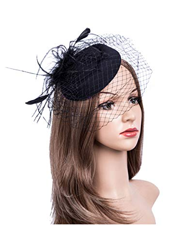 Fascinators Hats 20s 50s Hat Pillbox Hat Cocktail Tea Party Headwear with Veil for Girls and Women (B1-Black) ()