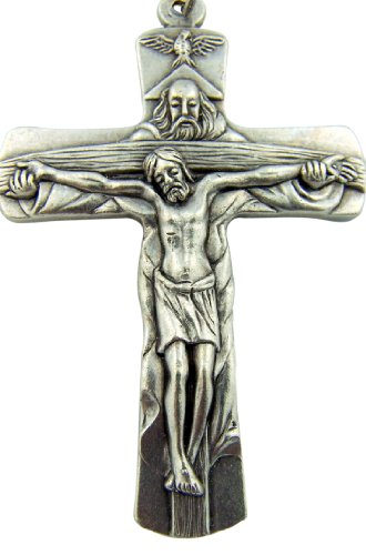 Silver Toned Base Father Son Holy Spirit Dove Trinity Cross Crucifix, 2 Inch