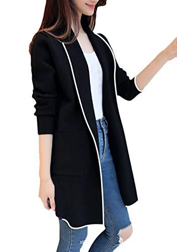 Sólidos Chaqueta Prendas Outdoor Abrigos Colores Joven Otoño Larga Largos De Informales Elegantes Manga Cardigan Invierno Moda Casuales Outerwear Solapa Mujeres Mujer Negro Anchas Exteriores UqH8Uaw