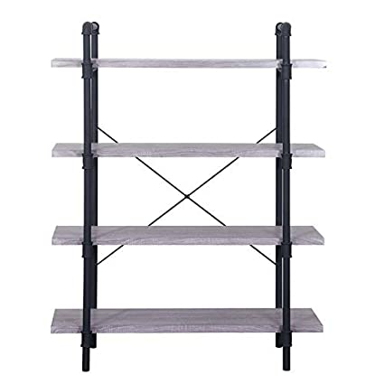 Amazon Com Mik Steel Frame Bookcase Bookcase With 4 Wood