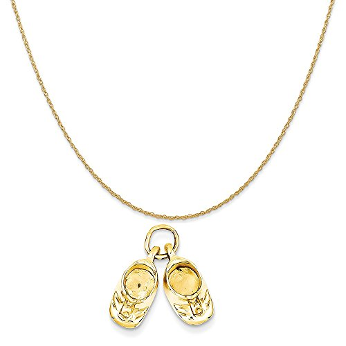 14k Polished Baby Shoes (14k Yellow Gold Polished Baby Shoes Charm on a 14K Yellow Gold Rope Chain Necklace, 16