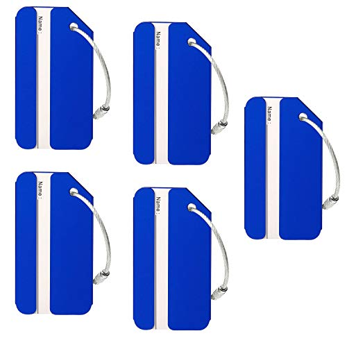 Aluminum Luggage Tags Holders, Bright Suitcase Tags & Luggage Baggage Identifier by LouisJoeYu(Blue-5)