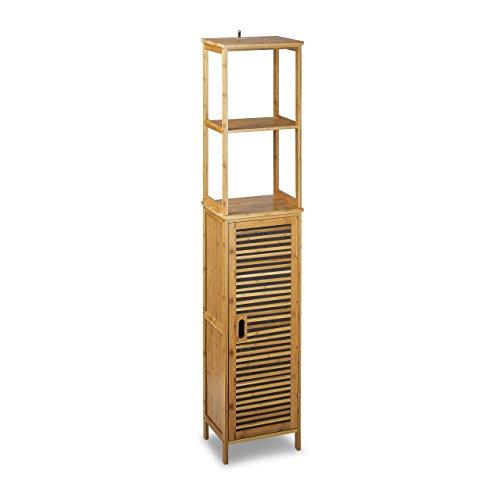 Relaxdays Badregal Bambus HBT 170 x 33,5 x 28 cm Badschrank mit 6 Ablageflächen mit praktischen Stauraum für Badeaccessoires als Standregal mit Schrank und 2 verstellbaren Einlegeböden für Bad, natur