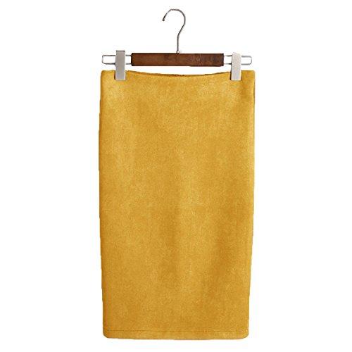 Haute Taille Genou Midi Jupe lgant Jupe ShallGood en Skirts Office Jupe Jaune Droite Crayon Bodycon t lasticit Femmes Jupe tcw1Cwxnqg