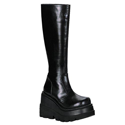 1/2 Boot 4 Knee Inch (Demonia Women's 4 1/2 Inch Platform Knee Boot (Black Pu;10))